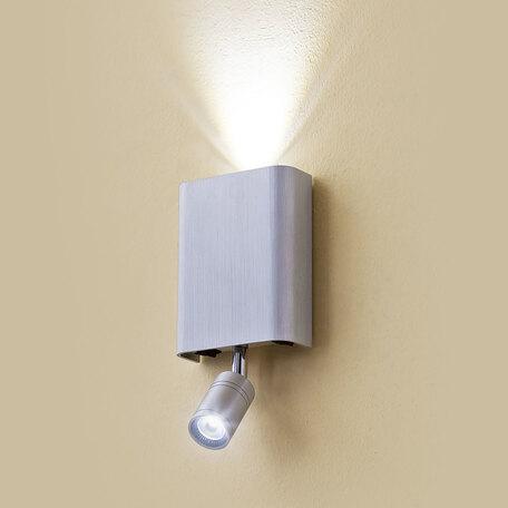 Настенный светодиодный светильник с регулировкой направления света с дополнительной подсветкой Citilux Декарт CL704411, LED 6W 3000K 450lm, серебро, металл