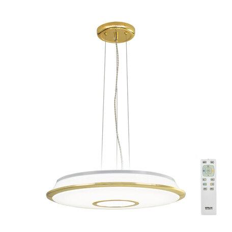 Подвесной светодиодный светильник с пультом ДУ Citilux Старлайт CL70362RS, LED 60W, 3000-4500K, белый, золото, металл, пластик