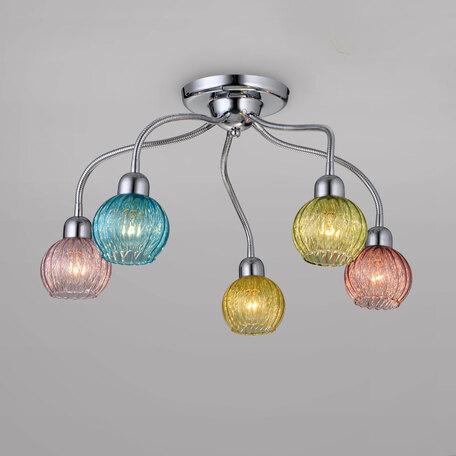Потолочная люстра с регулировкой направления света Citilux Попурри CL604151, 5xE14x60W, хром, разноцветный, металл, стекло