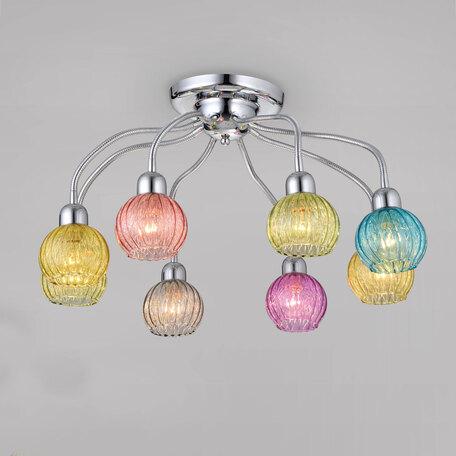 Потолочная люстра с регулировкой направления света Citilux Попурри CL604181, 8xE14x60W, хром, разноцветный, металл, стекло