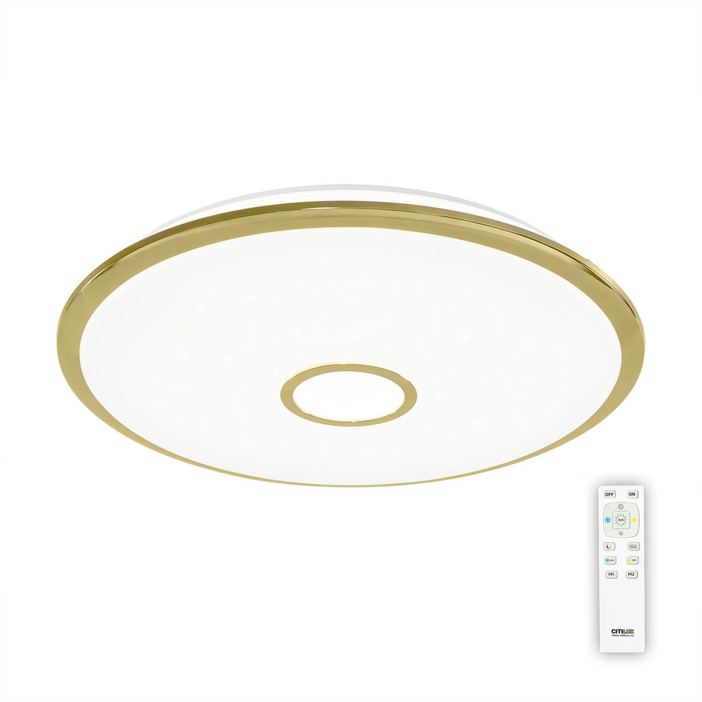 Потолочный светодиодный светильник с пультом ДУ Citilux Старлайт CL703102R, IP44, LED 100W, 3000-4500K, белый, золото, металл, пластик - фото 1