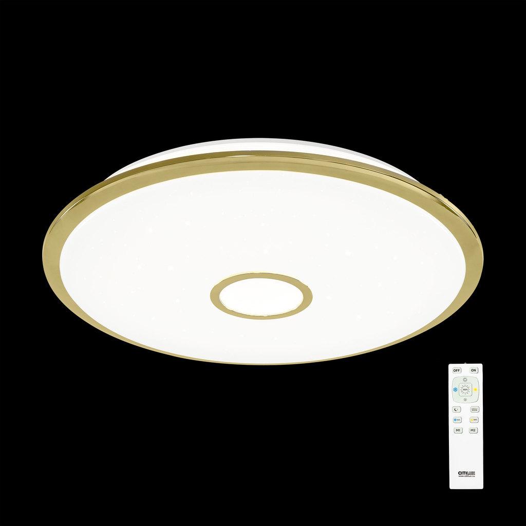 Потолочный светодиодный светильник с пультом ДУ Citilux Старлайт CL703102R, IP44, LED 100W, 3000-4500K, белый, золото, металл, пластик - фото 2