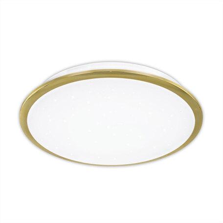 Потолочный светодиодный светильник Citilux Старлайт CL70332, IP44, LED 30W 3000K 1950lm, белый, золото, металл, металл с пластиком