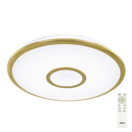 Потолочный светодиодный светильник с пультом ДУ Citilux Старлайт CL70342R, IP44, LED 40W 3000-4500K 2600lm, белый, золото, металл, металл с пластиком