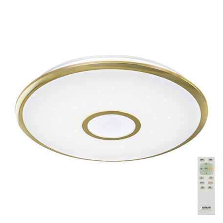 Потолочный светодиодный светильник с пультом ДУ Citilux Старлайт CL70362R, IP44, LED 60W, 3000-4500K, белый, золото, металл, пластик
