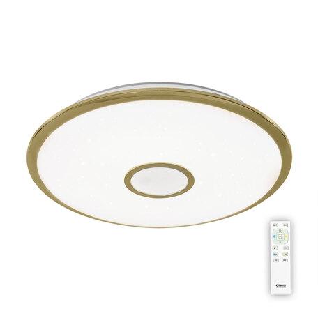 Потолочный светодиодный светильник с пультом ДУ Citilux Старлайт CL70382R, IP44, LED 80W, 3000-4500K, белый, золото, металл, пластик