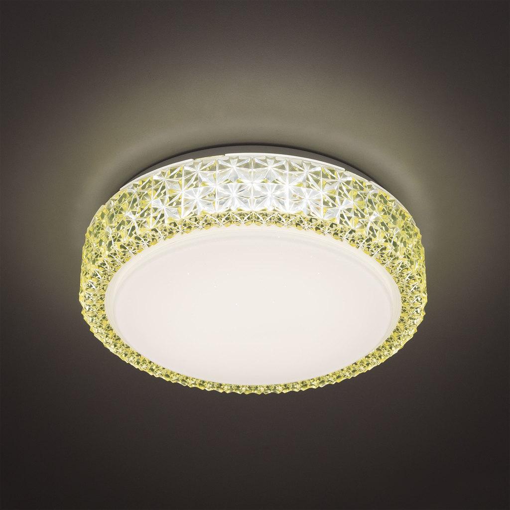 Потолочный светодиодный светильник Citilux Кристалино CL705012, LED 18W 3000K 1170lm, белый, желтый, металл, пластик - фото 3