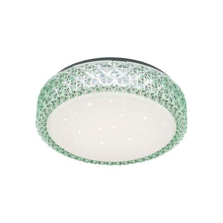 Потолочный светодиодный светильник Citilux Кристалино CL705013, LED 18W 3000K 1170lm, белый, зеленый, металл, пластик