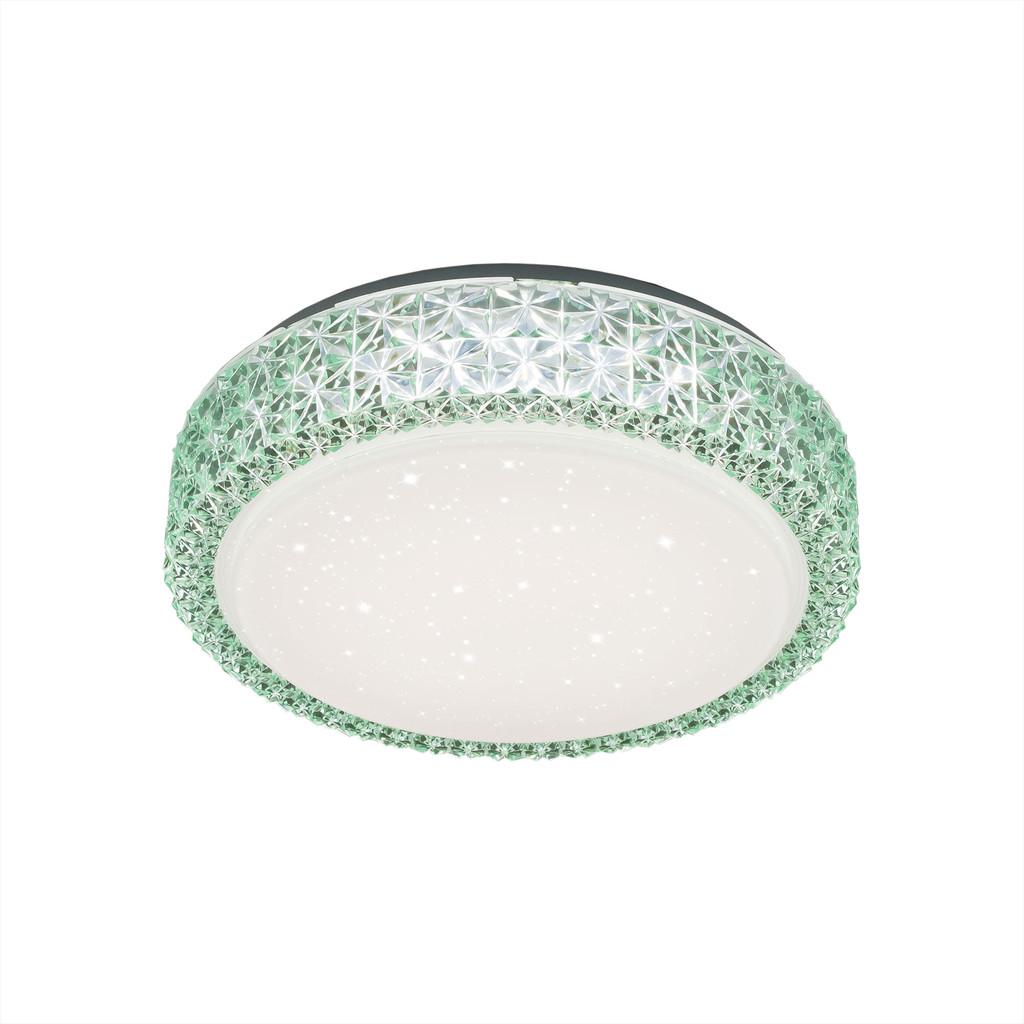 Потолочный светодиодный светильник Citilux Кристалино CL705013, LED 18W 3000K 1170lm, белый, зеленый, металл, пластик - фото 1