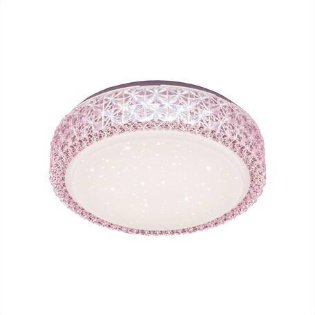 Потолочный светодиодный светильник Citilux Кристалино CL705014, LED 18W 3000K 1170lm, белый, розовый, металл, пластик