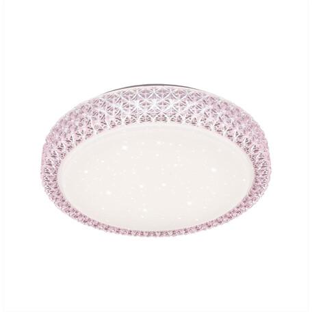Потолочный светодиодный светильник Citilux Кристалино CL705024, LED 30W 3000K 1950lm, белый, розовый, металл, пластик