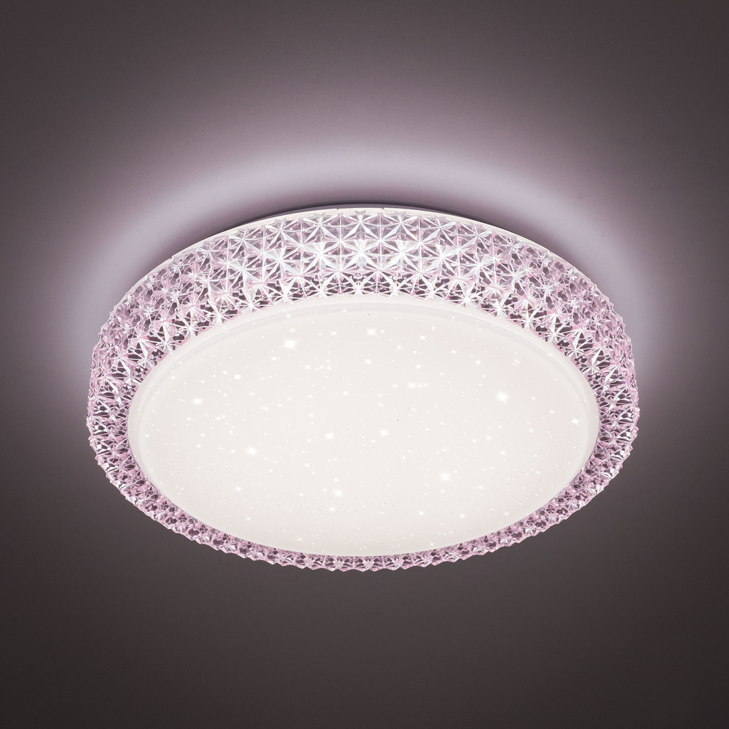 Потолочный светодиодный светильник Citilux Кристалино CL705024, LED 30W 3000K 1950lm, белый, розовый, металл, пластик - фото 3