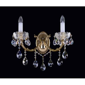 Бра Artglass CR 0006/02/20 BRASS ANTIQUE CE, 2xE14x40W, белый, бронза, прозрачный, металл, стекло, хрусталь Artglass Crystal Exclusive