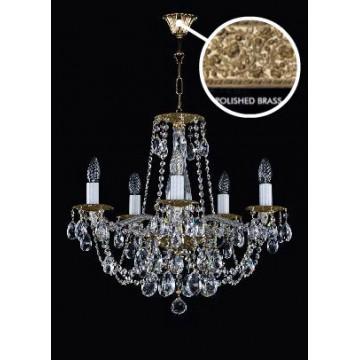 Подвесная люстра Artglass DEMETER V. POLISHED CE, 5xE14x40W, белый, золото, прозрачный, металл, стекло, хрусталь Artglass Crystal Exclusive