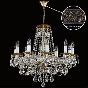 Подвесная люстра Artglass DEMETER X. BRASS ANTIQUE CE, 10xE14x40W, белый, бронза, прозрачный, металл, стекло, хрусталь Artglass Crystal Exclusive