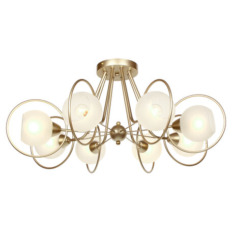 Светильник Lussole LGO Montana LSP-8369, IP21, 8xE14x40W, матовое золото, белый, металл, стекло