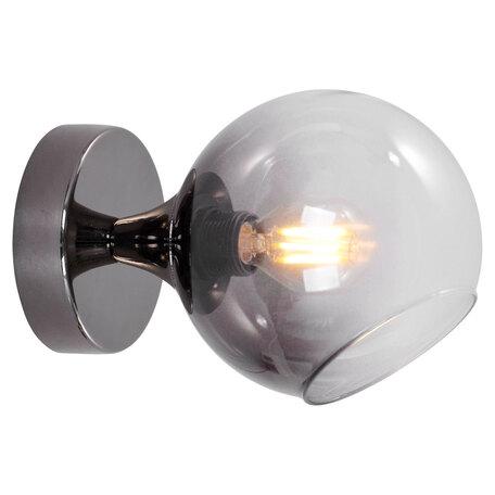 Светильник Lussole LGO Gresham LSP-8370, IP21, 1xE14x40W, черный хром, дымчатый, металл, стекло