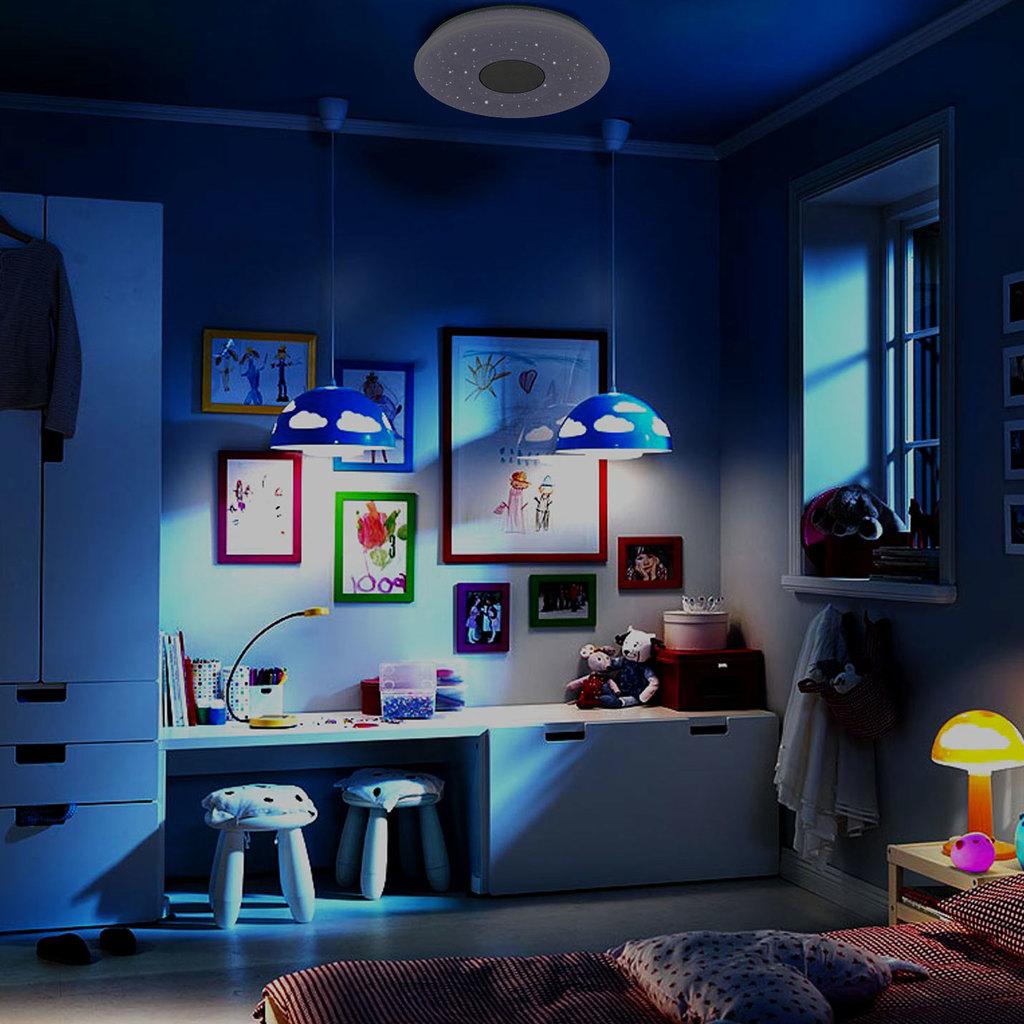 Музыкальный потолочный светодиодный светильник с пультом ДУ Citilux Старлайт CL703M50A, IP21, LED 60W 3000-4200K + RGB 3500lm, белый, металл, пластик - фото 10