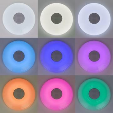 Музыкальный потолочный светодиодный светильник с пультом ДУ Citilux Старлайт CL703M50A, IP21, LED 60W 3000-4200K + RGB 3500lm, белый, металл, пластик - миниатюра 4