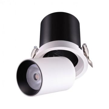 Встраиваемый светодиодный светильник с регулировкой направления света Novotech Spot Lanza 358081, LED 12W 3000K 980lm, белый, белый с черным, металл