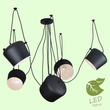 Люстра-паук Lussole Loft Shirley GRLSP-9919, IP21, 5xE27x10W, черный, металл
