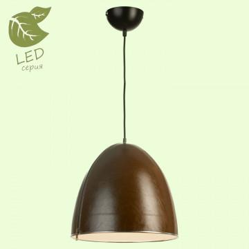 Подвесной светильник Lussole Loft Coram GRLSP-9866, IP21, 1xE27x10W, черный, коричневый, металл, кожзам
