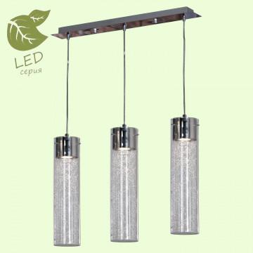 Подвесной светильник Lussole Loft West Babylon GRLSP-9873, IP21, 3xGU10x5,5W, хром, прозрачный, металл, стекло