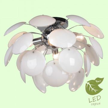 Потолочная люстра Lussole Loft Mattina GRLSQ-4303-04, IP21, 4xE27x10W, хром, белый, металл, стекло