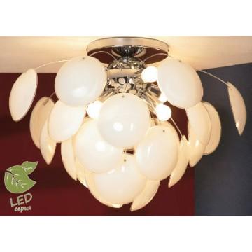 Потолочная люстра Lussole Loft Mattina GRLSQ-4303-06, IP21, 6xE27x10W, хром, белый, металл, стекло