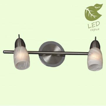 Потолочный светильник с регулировкой направления света Lussole Cevedale GRLSQ-6901-02, IP21, 2xE14x7W, никель, белый, металл, стекло