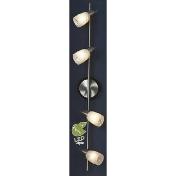 Потолочный светильник с регулировкой направления света Lussole Cevedale GRLSQ-6909-04, IP21, 4xE14x7W, никель, белый, металл, стекло