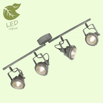 Потолочный светильник с регулировкой направления света Lussole Loft Brentwood GRLSP-9882, IP21, 4xE14x6W, серый, прозрачный, металл, стекло