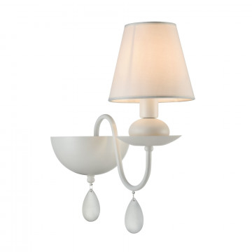 Бра Freya Eliza FR5756-WL-01-W, 1xE14x40W, белый, металл, текстиль, стекло