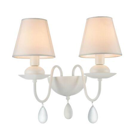 Бра Freya Eliza FR5756-WL-02-W, 2xE14x40W, белый, металл, текстиль, стекло