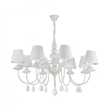 Подвесная люстра Freya Eliza FR5756-PL-08-W, 8xE14x40W, белый, металл, текстиль, стекло - миниатюра 2