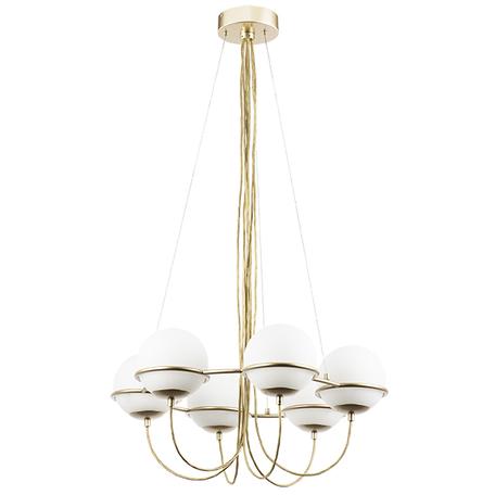 Подвесная люстра Lightstar Globo 803263, 6xE14x40W, матовое золото, белый, металл, стекло