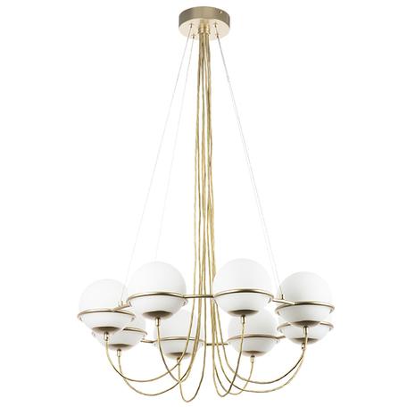 Подвесная люстра Lightstar Globo 803283, 8xE14x40W, матовое золото, белый, металл, стекло