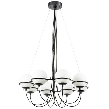 Подвесная люстра Lightstar Globo 803287, 8xE14x40W, черный, белый, металл, стекло