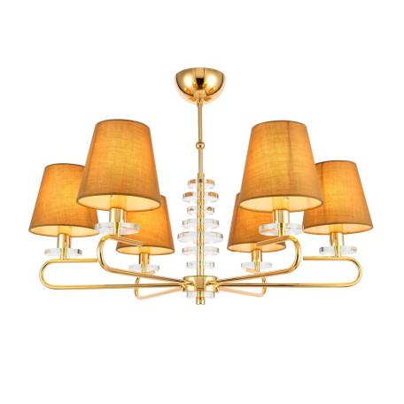 Потолочная люстра Evoluce Escalla SL1139.203.06, 6xE14x40W, золото, бежевый, металл со стеклом, текстиль
