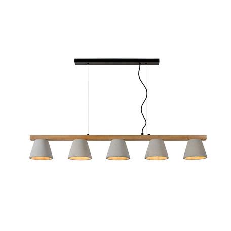 Подвесной светильник Lucide Possio 03413/05/41, 5xE14x40W, коричневый, черный, серый, дерево, бетон