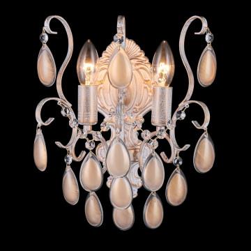 Бра Crystal Lux SEVILIA AP2 GOLD 2940/402, 2xE14x40W, белый с золотой патиной, перламутровый, прозрачный, металл, стекло, хрусталь