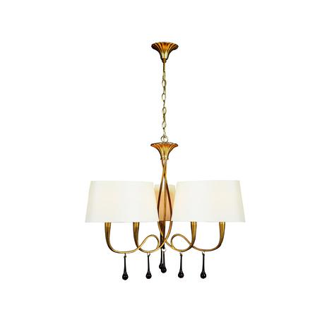 Подвесная люстра Mantra Paola 3540, матовое золото, белый, черный, металл, текстиль, стекло