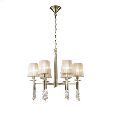 Подвесная люстра Mantra Tiffany 3871, бронза, бежевый, прозрачный, металл, текстиль, хрусталь
