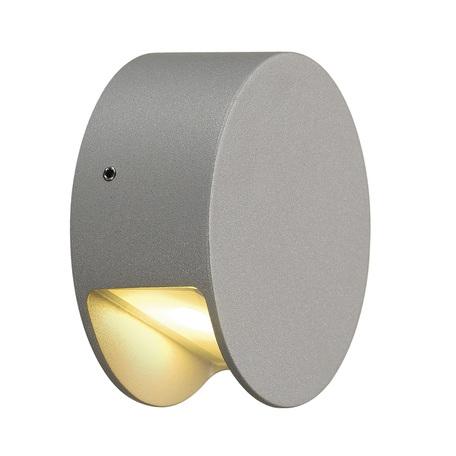 Настенный светодиодный светильник SLV PEMA® ROUND LED 231012, IP44, LED 3000K, серый, металл