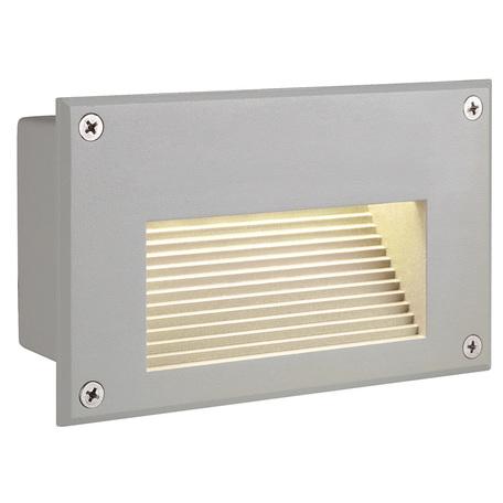 Встраиваемый настенный светодиодный светильник SLV BRICK LED DOWNUNDER 229702, IP54, LED 3000K, серый, металл