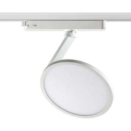Светодиодный светильник с регулировкой направления света для шинной системы Novotech Hat 358349, LED 18W 4000K 1700lm, белый, металл, металл с пластиком