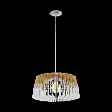 Подвесной светильник Eglo Artana 32827, 1xE27x60W, никель, белый, коричневый, металл, дерево