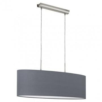 Подвесной светильник Eglo Pasteri 96369, 2xE27x60W, никель, серый, металл, текстиль