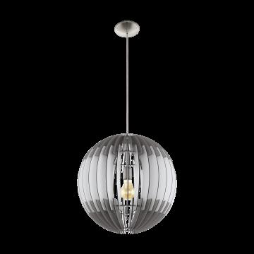 Подвесной светильник Eglo Olmero 96974, 1xE27x60W, никель, серый, металл, дерево