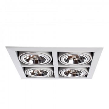 Встраиваемый светильник Arte Lamp Cardani Grande A5935PL-4WH, 4xG53AR111x50W, белый, черный, металл